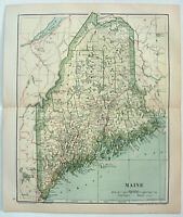 Original 1895 Map of Maine by Dodd Mead & Company. Antique