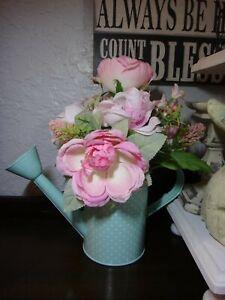 Spring Pink silk floral arrangement centerpiece in aqua blue metal watering can