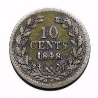 1848 Netherlands 10 Cents - Willem II - Lot 831