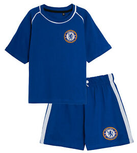 Kids Chelsea FC Short Pyjamas Boys Premiership Football Club Kit Shorts T-shirt