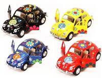 """4PC Set 5"""" Kinsmart 1967 Volkswagen Beetle w/ Flowers Decals Diecast Model 1:32"""