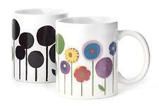 Kikkerland Flowering Morph Ceramic Mug Heat Changing Flowers Coffee Tea Cup Gift