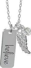 "Guardian Angel Pendant Necklace, BELIEVE Angel Wing, 18"", AngelStar 16036"