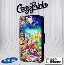 Mario And Friends Luigi Cool fits iPhone & Samsung Leather Flip Case Cover P8