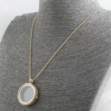 Gold Chain Living Memory Floating Round Crystal Glass Locket Pendant Necklace