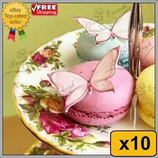 10 X BUTTERFLY BIRTHDAY MIXED CUPCAKE TOPPERS EDIBLE CAKE WAFER PAPER PINK BLUE