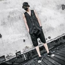 Fashion Men's Casual Sleeveless Black Zipper Jumpsuit Coveralls Pants Overalls