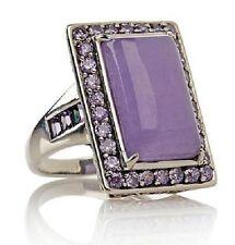 """""""Jade of Yesteryear """" Joy Lavender Jade and  Purple Amethyst Sterling Ring 6.5"""