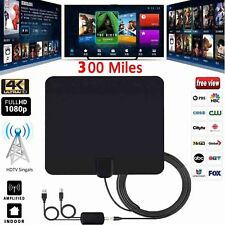 Ultra Thin Flat Indoor HDTV Amplified HD TV Signal Antenna 16FT Coax 300 Mile