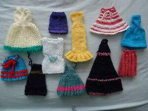 Bundle of Hand Knitted Clothes/Skirts for Small Dolls