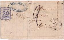 ALSACE LORRAINE - BISCHWEILLER - 20c N°6 SUR LETTRE DU 26-8-1871 + TAXE 2  (R)