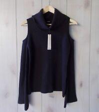 Elie Tahari Torrence Cashmere Cowl-Neck Cold-Shoulder Ribbed Sweater S