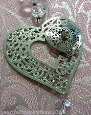 Wedding/Bridal Keepsake/Horseshoe - Silver Double Diamante Heart w Crystal Drop