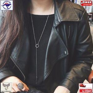 Elegant Simple Silver Stick Ring Long Necklace Pendant Women Jewellery[A7X~B33]