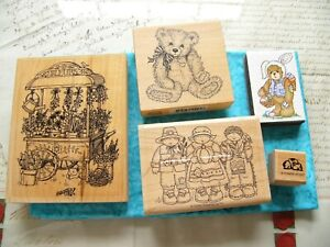 STAMPING UP RUBBER STAMPS FLOWER CART ~SET of 5 UNUSED easter
