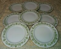 "8 Style House Contessa 6.5"" Bread & Butter Plates Green Scrolls & Flowers Gold"