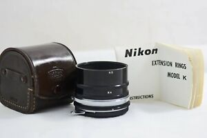NIKON 5PC K EXTENSION RING SET WITH LEATHER CASE AND INSTRUCTIONS (EXCELLENT)