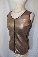 NEW NWT Women's Calvin Klein Shimmer Tank Top Extra Small Gold Black Lot FF
