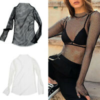 Women Sheer Mesh Fish Net Long Sleeve Turtle Neck See Crop Top T Shirt Blouse