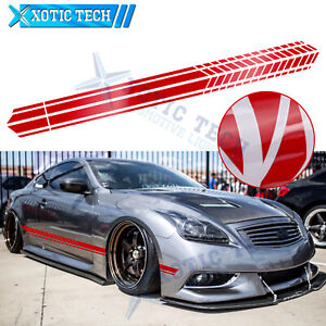 2Pcs JDM Glossy Red Side Door Fender Decal Stripes Sticker For Infiniti 2000-up