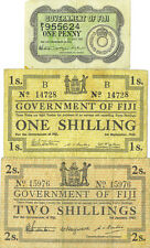 Government of Fiji 1942 Emergency Issues Lot of 3 Notes VG/F