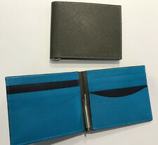 Paul Smith NEON BLUE MONEY CLIP WALLET Credit Card Bifold Taupe/Kingfisher Blue