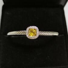 David Yurman Silver 4mm Albion Lemon yellow Topaz Diamond  Cable Bangle Bracelet