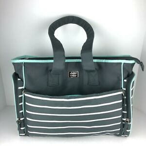 Carter's Child of Mine Teal & Gray Striped 6 Pocket Diaper Bag Built-in Changing