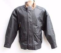 Men's Vintage Bomber Flying Biker Black 100% Real Leather Jacket Coat Size L