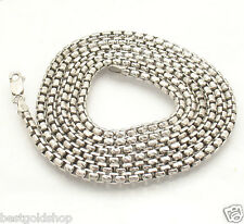 "36"" 3.5mm Mens Diamond Cut Box Chain Necklace Solid Sterling Silver 925 43.7gr"