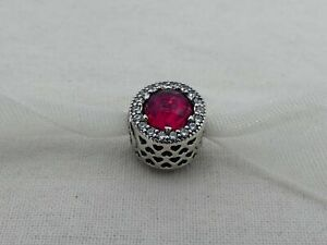 Estate Pandora Sterling Silver Red Stone Passion Bead CR-30
