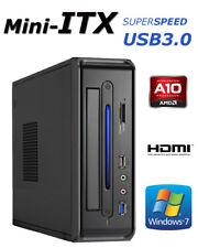 Mini-ITX PC AMD A10 Quad 2,8Ghz 4GB SSD 120GB Windows 7 Pro Computer HDMI USB3