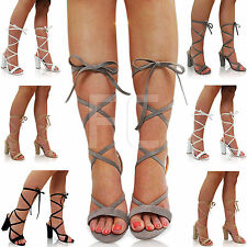 NEW WOMENS LADIES FLAT BLOCK HIGH HEEL OPEN TOE PEEP LACE UP SHOES SANDALS SIZE