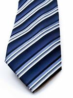 Stafford Essentials Washable Necktie Tie Striped Blue Grey White - New w/ Tag