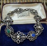 "Vintage Sterling Silver Bracelet, Verde Onyx, Agate, Art Deco, 7.5"", 925 Silver"