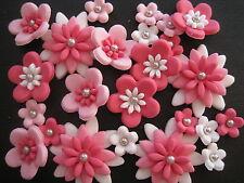 48 Edible Cute Fondant Flower Mix WEDDING CAKE & CUPCAKE TOPPERS