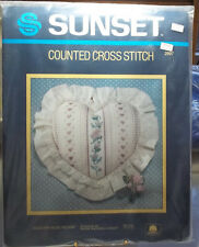 SUNSET Counted Cross Stitch COUNTRY ROSE Heart Shaped PILLOW Kit New Old Stock