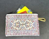 Coin Purse Tapestry Red White Turkish Rug Style ID Credit Card Cash Coin Pouch