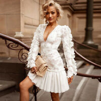 Damen Mini Tanz Kleid Minikleid Abendkleid Ballkleid Clubwear Spitze BC810 40