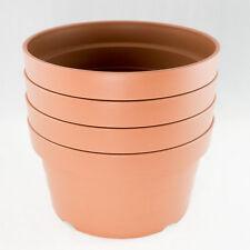 "4 Japanese Heavy Duty Round Plastic Bonsai / Succulent Pot 8.25""x 8.25""x 4"""