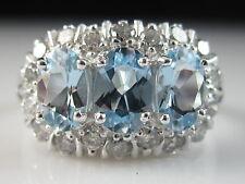 18K Aquamarine Diamond Princess Ring Estate White Gold Fine Jewelry Three Stone