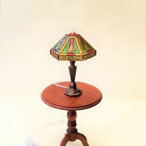 Dollhouse Miniature Esther Marker Exquisite Working Tiffany Lamp  ~ 1/12 Scale