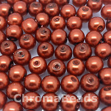 6mm Glass faux Pearls - Rust (dark orange) - 100 beads, jewellery making