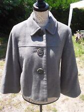 Manteau court manches 3/4 classe gris laine femme ETAM taille 38 comme neuf !!