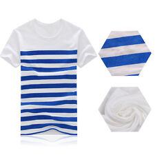 Men T-shirt Striped T-Shirt Summer Man Casual T-shirt 1Pcs O-Neck Short-Sleeved
