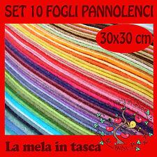 10 FOGLI FELTRO PANNOLENCI  MISURA 30X30 h.1mm PIU DI 20 COLORI DISPONIBILI