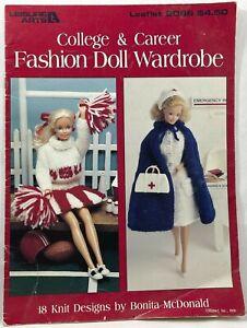 1991LeisureArts College & Career Fashion Doll Wardrobe2066 Knit PatternBook 9562