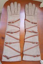 Cole Haan Premium Suede Cashmere Gloves with Equestrian Buckle Detail, Beige 6.5
