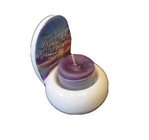 Tea Light Candle Holder in Biblical Scripture Mat 11:28 White, Blues & Purples