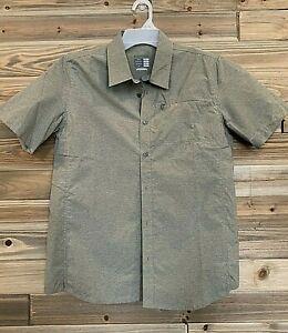 SHIMANO Transit Short Sleeve Button-up Shirt Alloy Men's Size Medium Dusky Green